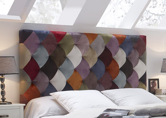 Patchwork style upholstered headboard. Mod. TOULOUSE