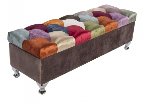 Patchwork style upholstered chest. Mod. TOULOUSE