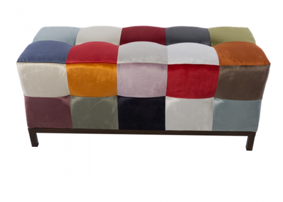 Patchwork style upholstered bench. Mod. VENEZIA