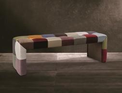 Patchwork style upholstered stool. Mod. VENEZIA