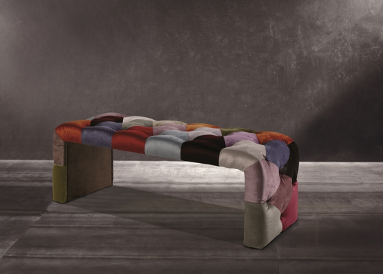 Patchwork style upholstered stool. Mod. TOULOUSE