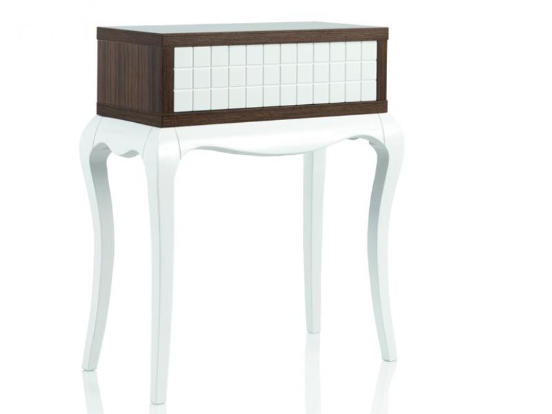 console 1 tiroirs avec fa ade grav e avec des carreaux et pieds chippendale mod mbx413. Black Bedroom Furniture Sets. Home Design Ideas