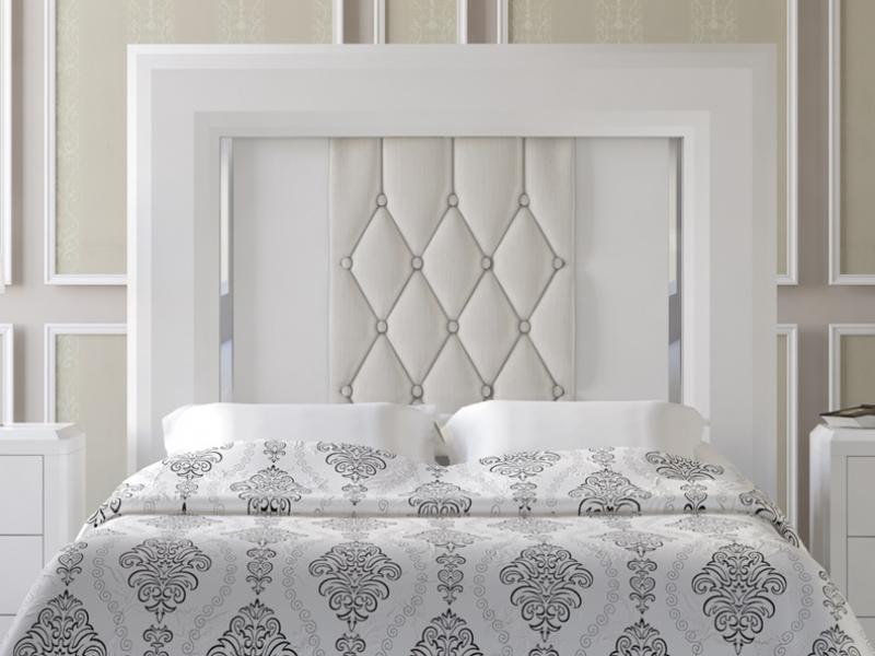 T te de lit laqu e blanc avec double onglet et garniture en tissu avec capito - Tissu capitonne pour tete de lit ...