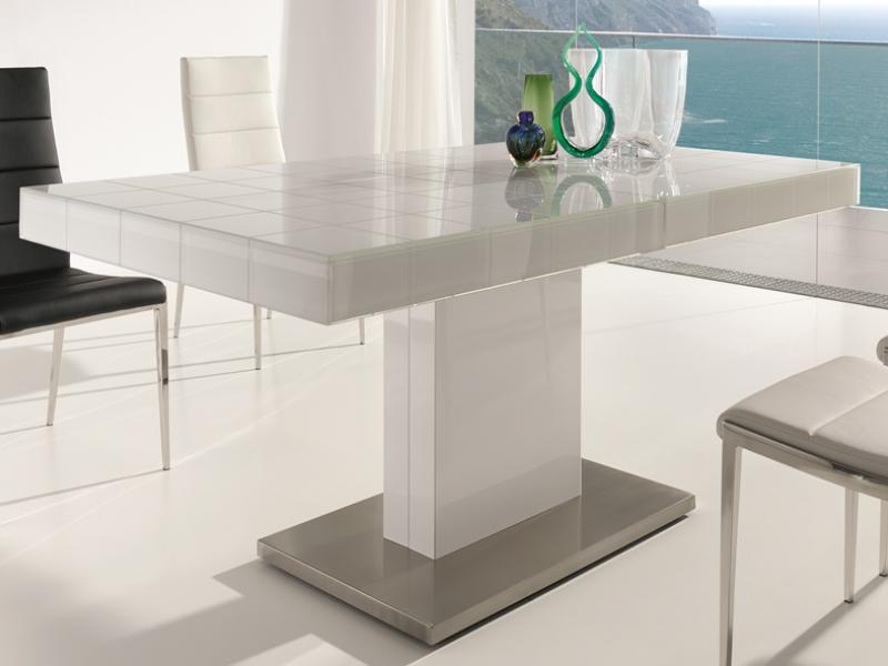 Table manger extensible avec base en acier inox et pied laqu blanc avec pl - Table a manger en verre extensible ...