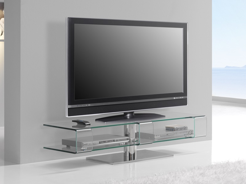 meuble tv en verre transparent avec base et pied en acier. Black Bedroom Furniture Sets. Home Design Ideas