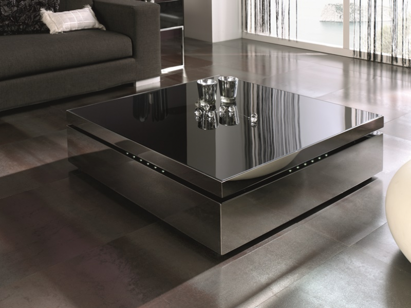 Table basse relevable rectangulaire ou carr e recouverte d 39 acier inox - Table relevable en verre ...