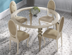Round dinning table with glass top. Mod. GA1212