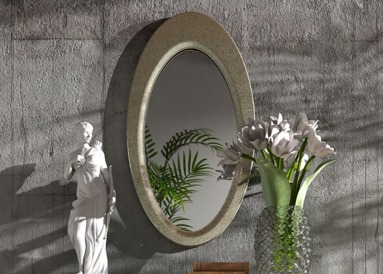Oval lacquered mirror,  mod: OLEANA