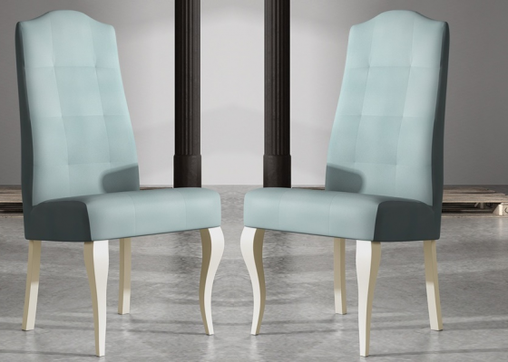 Set of 2 upholstered and lacquered chairs. Mod. ROYAL