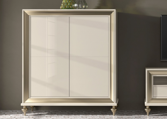 Lacquered showcase with 4 wood doors . Mod. GA1022