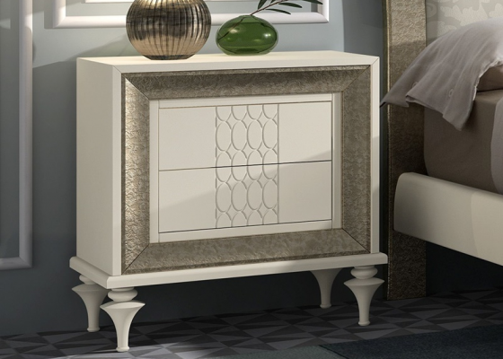 2 lacquered bedside tables with  2 drawers . Mod. GA1303G