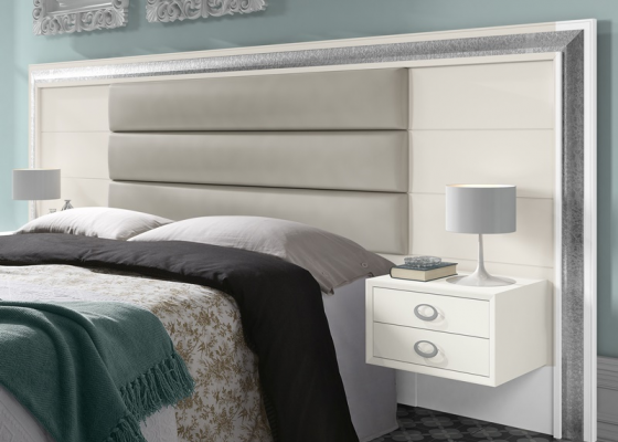 Large lacquered and upholstered headboard. Mod. GA1360T