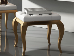 Upholstered and lacquered bench. Mod. LUCIA