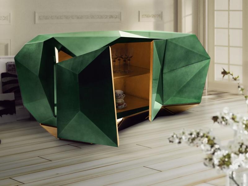 Armario Kallax Ikea ~ Buffet avec 2 portes sculptées en couleur vertémeraude Mod DIAMOND ESMERALDA