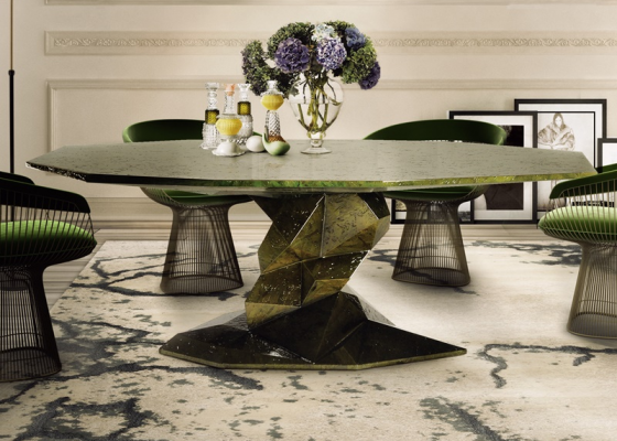 Fixed dinning table  with handmade  faceted form. Mod. BONSAI SELVA VERDE