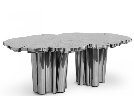 Dinning table in aluminum finish. Mod. FORTUNE ALUMINUM