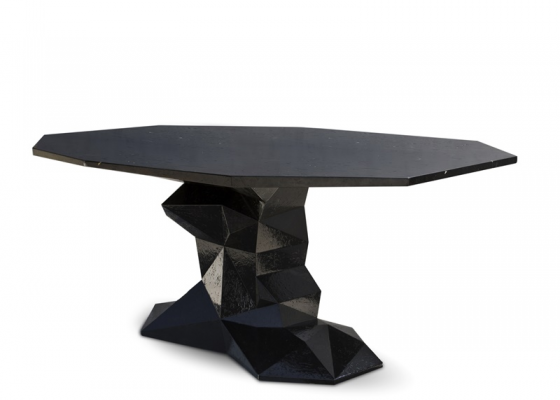 Fixed dinning table  with  handmade faceted form. Mod. BONSAI  NEGRO