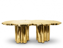 Dinning table in polished brass. Mod. FORTUNE