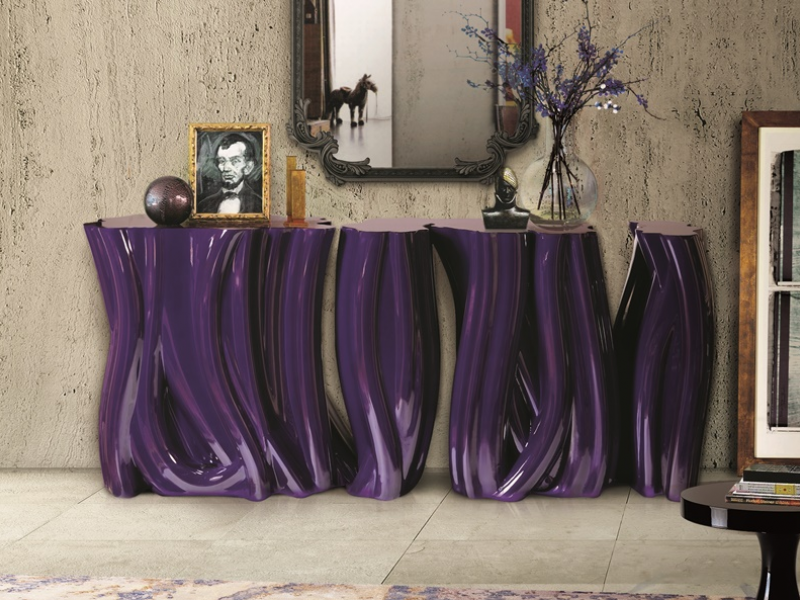 Lacquered console with trunk forms. Mod. CONSOLA TRONCOS