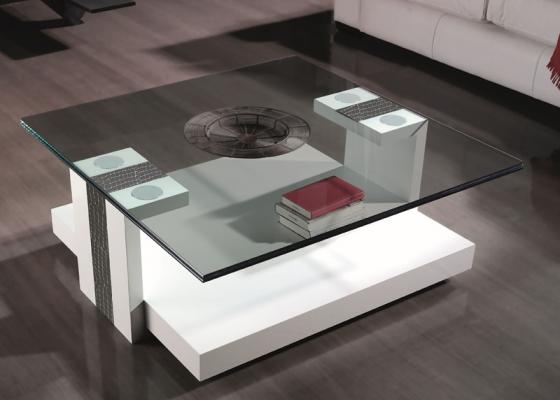 Mesa de centro cuadrada con tapa de cristal, modelo: GRAPPA