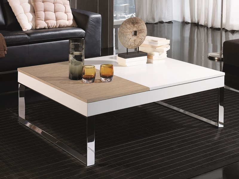 table basse avec plateaux relevables en laqu blanc et. Black Bedroom Furniture Sets. Home Design Ideas