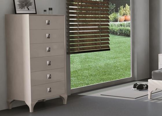 chiffonnier 6 tiroirs laqu avec pieds chippendale et poign es chrom es mod mbx941. Black Bedroom Furniture Sets. Home Design Ideas