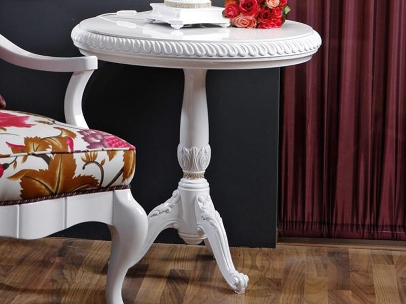 gu ridon plateau en bois laqu blanc haute brillance avec d tails en swarovski 4099 32. Black Bedroom Furniture Sets. Home Design Ideas