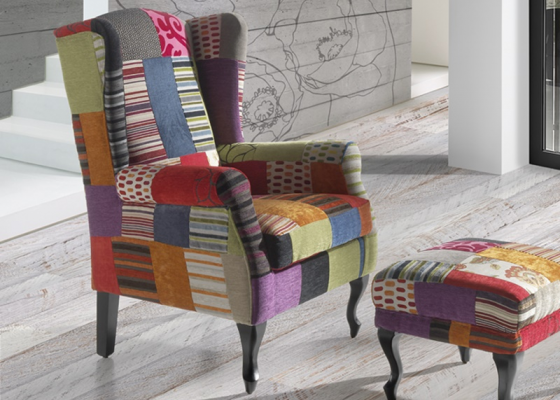 Armchair. Mod. BOSTON PATCHWORK HOT COLORS