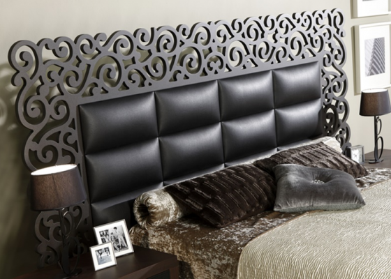 Lacquered and upholstered headboard. Mod. CASSANDRA  NEGRO