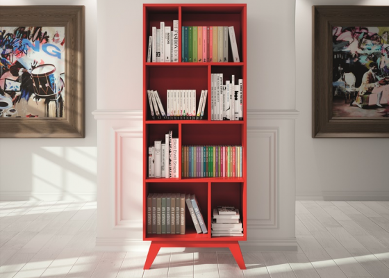 Vintage bookshelf with 8 hollow spaces. Mod. FRIDA