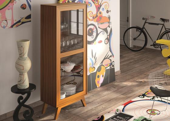Vintage cabinet with glass shelves. Mod. FRIDA