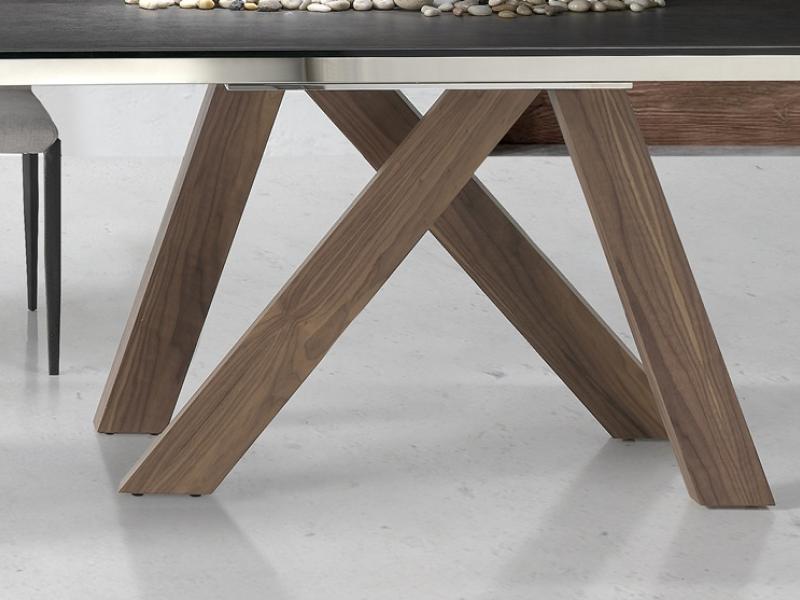 Table manger extensible avec plateau c ramique et for Table a manger extensible bois