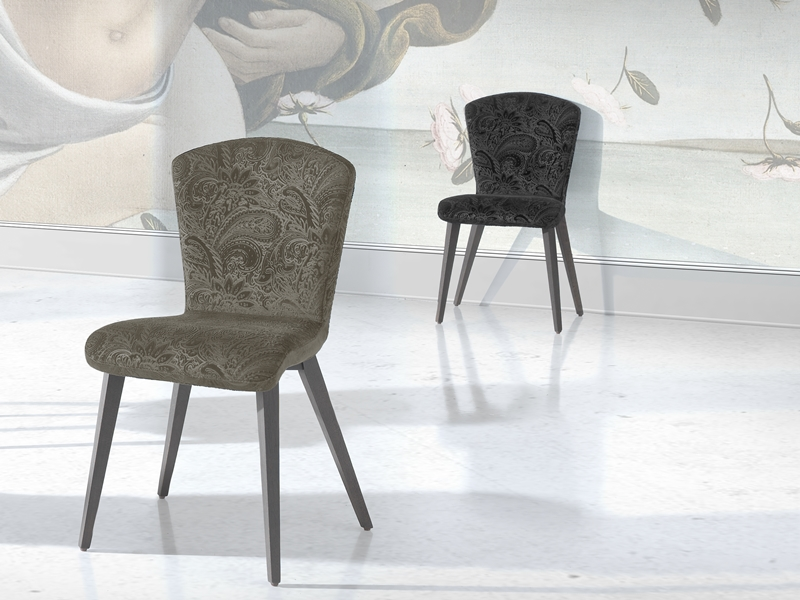 Set of  2 upholstered chairs made in beech wood. Mod. NIKITA