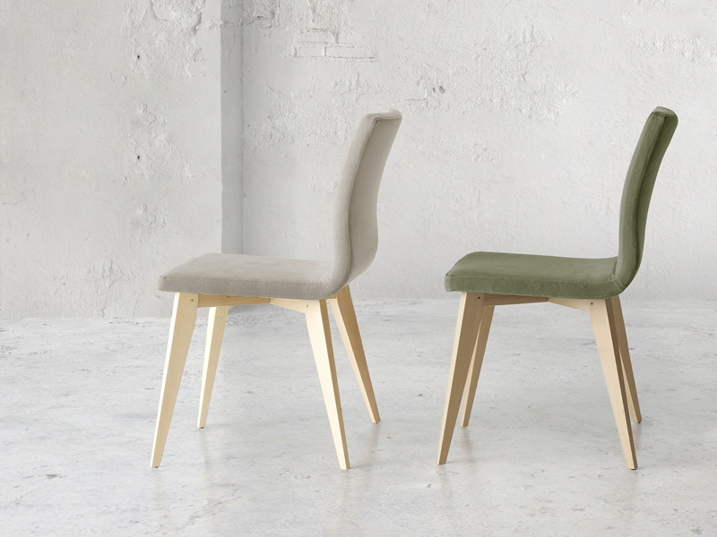 Set of  2 upholstered chairs with wood structure. Mod. JANE WOOD