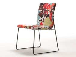Set of  2 upholstered chairs with metallic structure. Mod. JANE