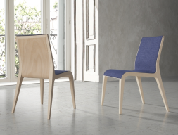 Set of  2 upholstered chairs with wood structure. Mod. AYALA