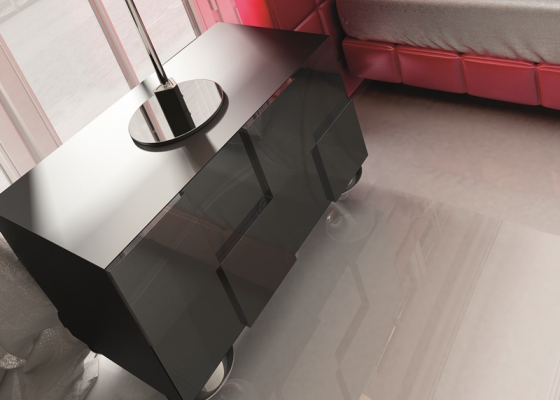 2 lacquered bedside tables with 2 drawers. Mod. YASMIN