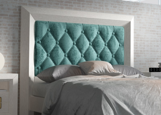 Upholstered and padded oak headboard. Mod. ENZO4886BOT