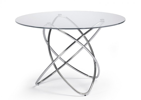 Round dining table, mod: TAYOS CRISTAL