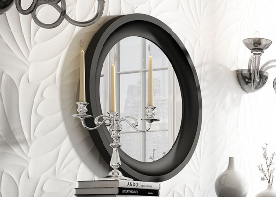Round lacquered mirror. Mod. LAURA