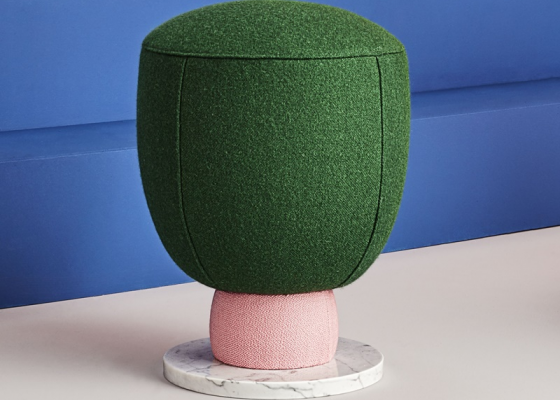 Upholstered large puff. Mod. TOADSTOOL PG
