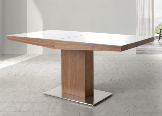 Extensible dining table with glass top. Mod. DORIAN CRISTAL