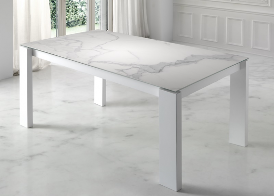 Extensible dining table with ceramic top. Mod. INFINITY CERÁMICO