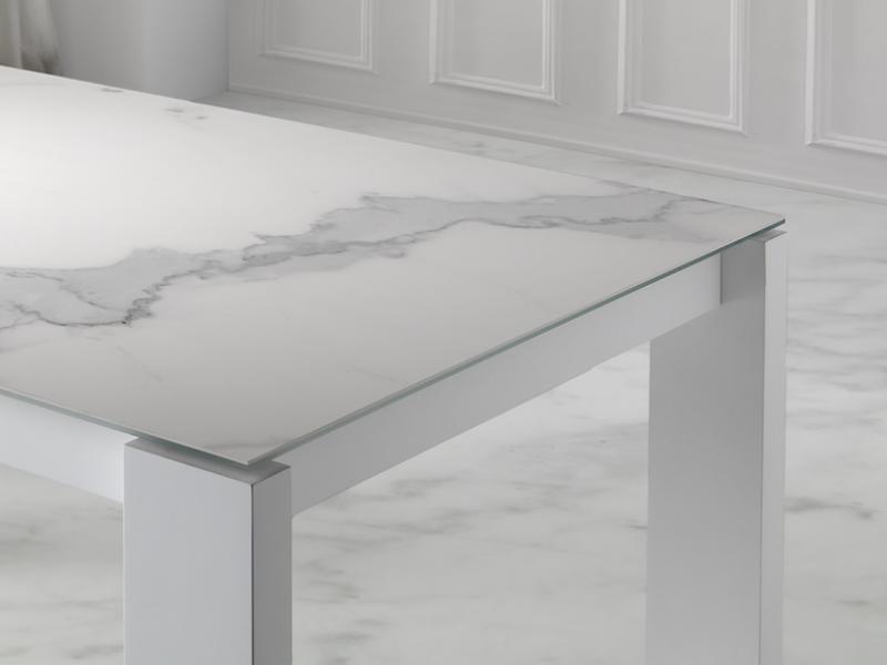 Extensible dining table with ceramic top. Mod. INFINITY CER�MICO