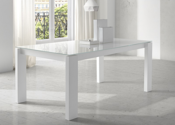 Extensible dining table with glass top. Mod. INFINITY