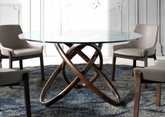 Round dining table, mod: TWIN