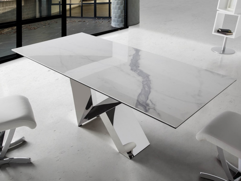 Dining Table With Porcelain Marble Top Mod Marmol