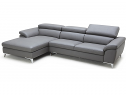 Leather sofa with chaise longue. Mod. LOLA