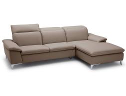 Leather sofa with chaise longue. Mod. NICOLE