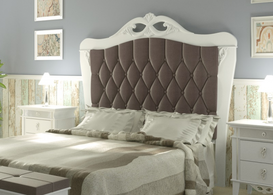Lacquered and upholstered headboard. Mod. ROYAL2210